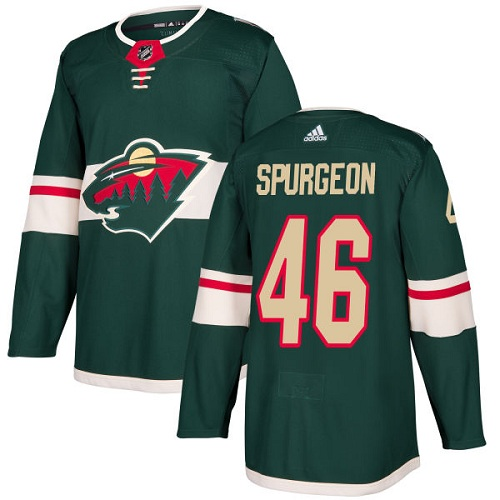 Men's Jared Spurgeon Authentic Green Home Jersey: Hockey #46 Minnesota Wild