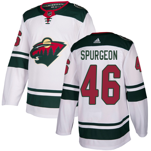 Men's Jared Spurgeon Authentic White Away Jersey: Hockey #46 Minnesota Wild