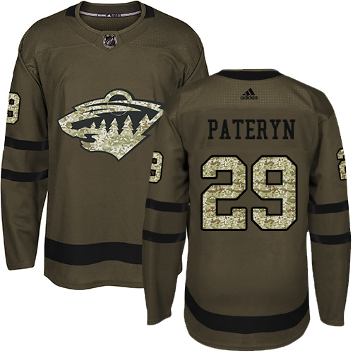 Men's Greg Pateryn Authentic Green Jersey: Hockey #29 Minnesota Wild Salute to Service