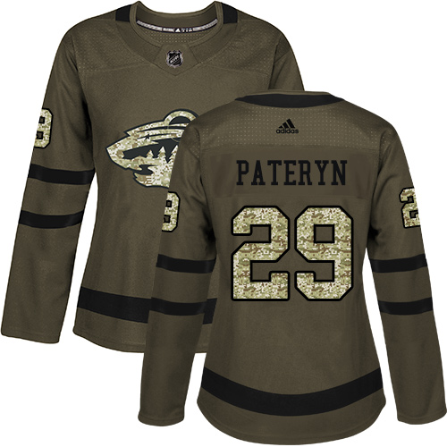 Women's Greg Pateryn Authentic Green Jersey: Hockey #29 Minnesota Wild Salute to Service