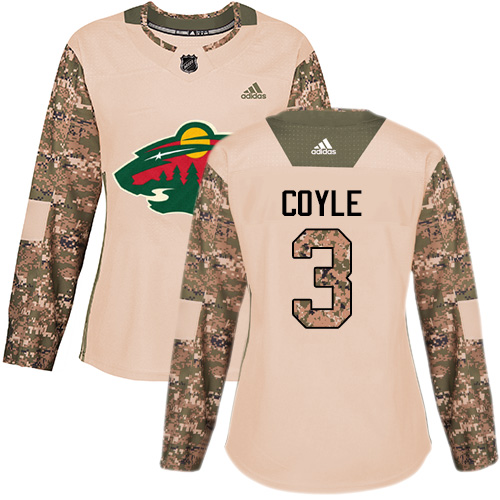Adidas Women's Charlie Coyle Authentic Camo Jersey: NHL #3 Minnesota Wild Veterans Day Practice