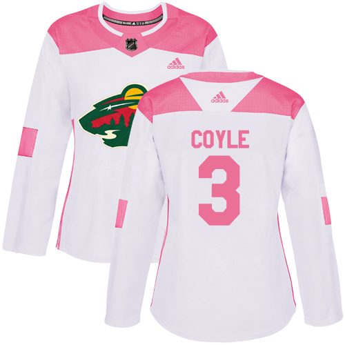 Adidas Women's Charlie Coyle Authentic White/Pink Jersey: NHL #3 Minnesota Wild Fashion