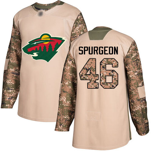Youth Jared Spurgeon Authentic Camo Jersey: Hockey #46 Minnesota Wild Veterans Day Practice