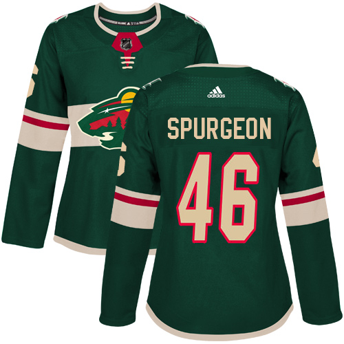 Women's Jared Spurgeon Premier Green Home Jersey: Hockey #46 Minnesota Wild