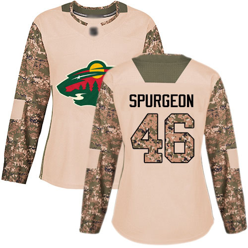 Women's Jared Spurgeon Authentic Camo Jersey: Hockey #46 Minnesota Wild Veterans Day Practice