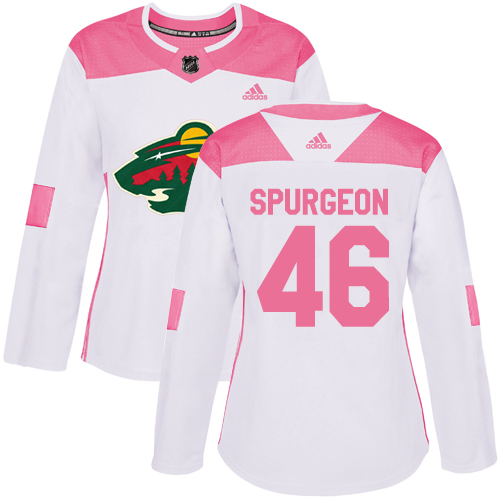 Women's Jared Spurgeon Authentic White/Pink Jersey: Hockey #46 Minnesota Wild Fashion