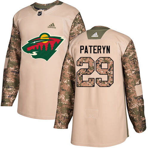 Youth Greg Pateryn Authentic Camo Jersey: Hockey #29 Minnesota Wild Veterans Day Practice