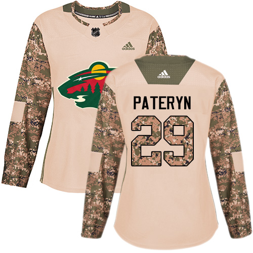 Women's Greg Pateryn Authentic Camo Jersey: Hockey #29 Minnesota Wild Veterans Day Practice