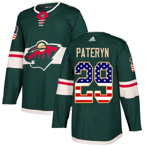 Men's Greg Pateryn Authentic Green Jersey: Hockey #29 Minnesota Wild USA Flag Fashion
