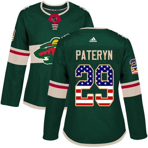 Women's Greg Pateryn Authentic Green Jersey: Hockey #29 Minnesota Wild USA Flag Fashion
