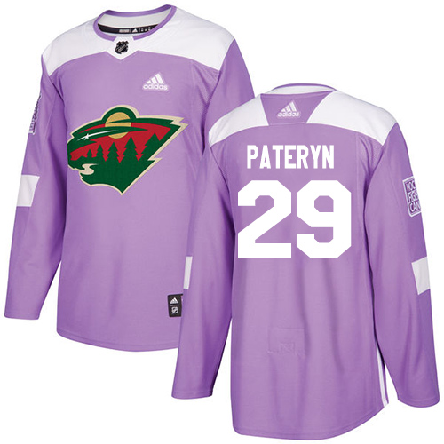 Men's Greg Pateryn Authentic Purple Jersey: Hockey #29 Minnesota Wild Fights Cancer Practice