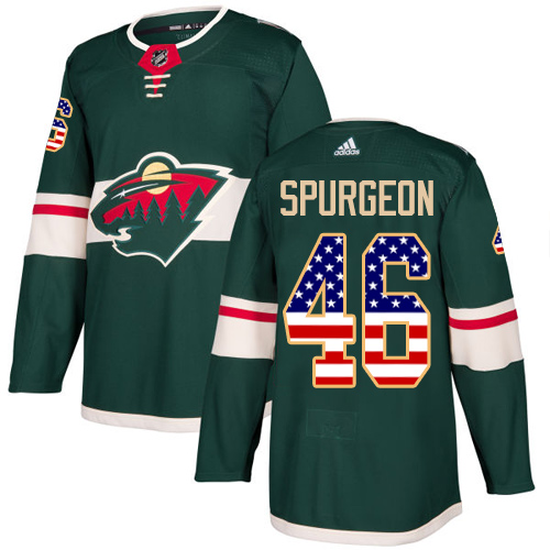 Men's Jared Spurgeon Authentic Green Jersey: Hockey #46 Minnesota Wild USA Flag Fashion