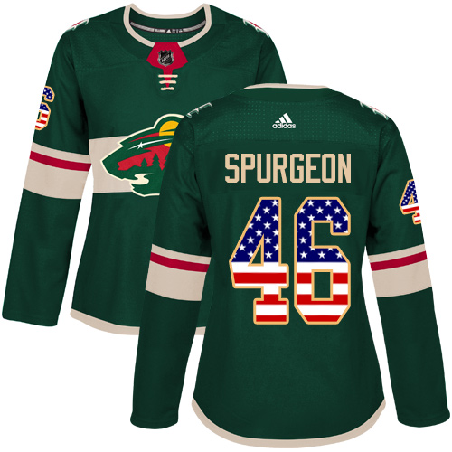 Women's Jared Spurgeon Authentic Green Jersey: Hockey #46 Minnesota Wild USA Flag Fashion
