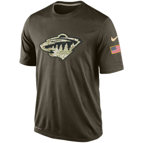 Hockey Men's Minnesota Wild Olive Salute To Service KO Performance Dri-FIT T-Shirt